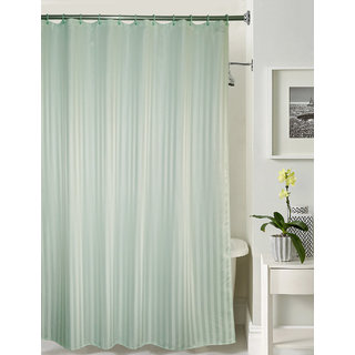 Lushomes thick striped Light Green water repellent shower curtain with 12 eyelets and 12 C-hooks (72 x 80 or 185 x 205 cms)