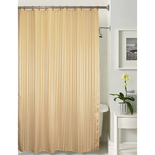 Lushomes thick striped Beige water repellent shower curtain with 12 eyelets and 12 C-hooks (72 x 80 or 185 x 205 cms)