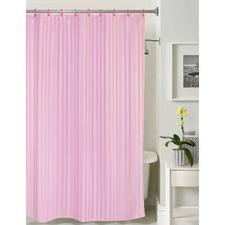 Lushomes thick striped Prism Pink water repellent shower curtain with 12 eyelets and 12 C-hooks (72 x 80 or 185 x 205 cms)