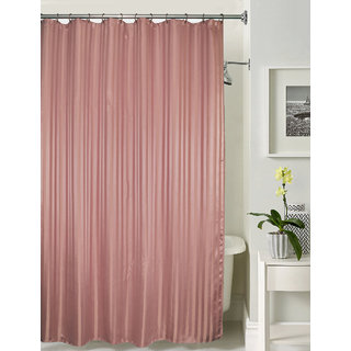 Lushomes thick striped Brownie water repellent shower curtain with 12 eyelets and 12 C-hooks (72 x 80 or 185 x 205 cms)