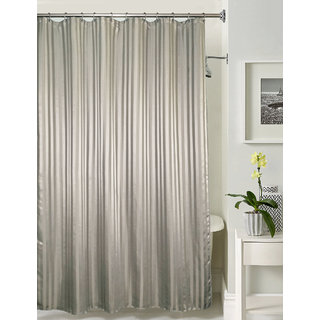 Lushomes Thick Striped Charcoal Grey Water Repellent Shower Curtain With 12 Eyelets And C Hooks 72 X 80 Or 185 205 Cms