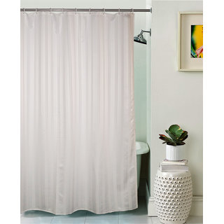 Lushomes Unidyed White Polyester Shower Curtain with 12 Plastic Eyelets