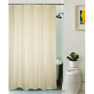 Lushomes Unidyed Cream Polyester Shower Curtain with 12 Plastic Eyelets