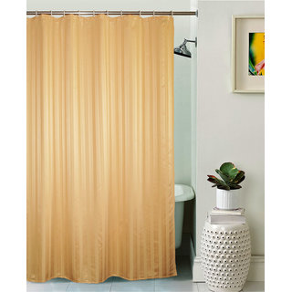Lushomes Unidyed Gold Polyester Shower Curtain with 12 Plastic Eyelets