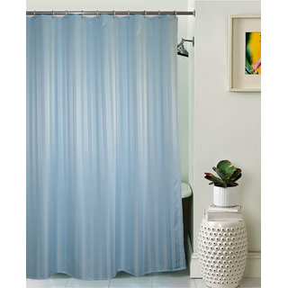 Lushomes Unidyed Light Blue Polyester Shower Curtain with 12 Plastic Eyelets