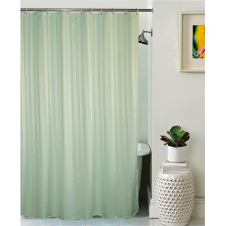 Lushomes Unidyed Light Green Polyester Shower Curtain with 12 Plastic Eyelets
