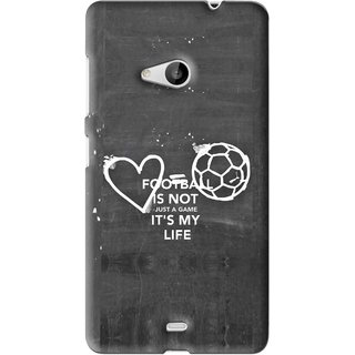 Snooky Printed Football Life Mobile Back Cover For Microsoft Lumia 535 - Black