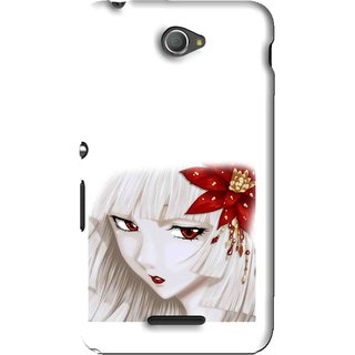 Snooky Printed Chinies Girl Mobile Back Cover For Sony Xperia E4 - White