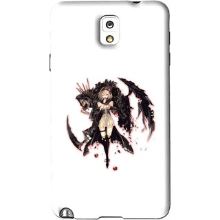 Snooky Printed Kungfu Girl Mobile Back Cover For Samsung Galaxy Note 3 - White