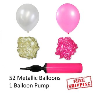 52 pieces Pink and White Metallic Balloons with Balloon Pump for Birthday decorations