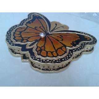 Butterfly Shaped Wooden And Aluminium Dryfruit Box Multicolor
