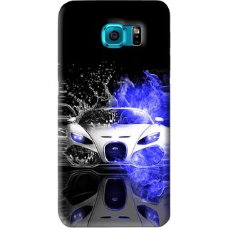 Snooky Printed Super Car Mobile Back Cover For Samsung Galaxy S6 - Black