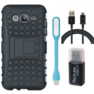 Vivo Y53 Shockproof Tough Defender Cover with Memory Card Reader, USB LED Light and USB Cable