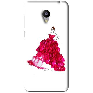Snooky Printed Rose Girl Mobile Back Cover For Meizu M2 - White