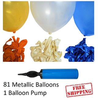 81 pieces Blue White and Orange metallic balloons with Balloon Pumps Birthday decoration combo for Baby boys