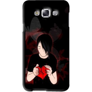 Snooky Printed Broken Heart Mobile Back Cover For Samsung Galaxy E5 - Black