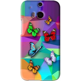 Snooky Printed Trendy Buterfly Mobile Back Cover For HTC One M8 - Multi