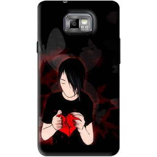 Snooky Printed Broken Heart Mobile Back Cover For Samsung Galaxy S2 - Black