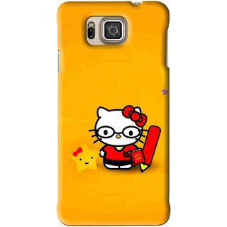 Snooky Printed Kitty Study Mobile Back Cover For Samsung Galaxy Alpha - Orange