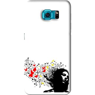 Snooky Printed Butterfly Girl Mobile Back Cover For Samsung Galaxy S6 - White