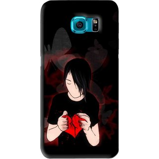 Snooky Printed Broken Heart Mobile Back Cover For Samsung Galaxy S6 - Black