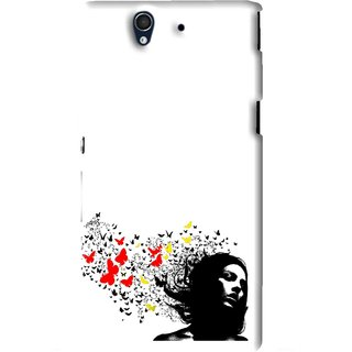 Snooky Printed Butterfly Girl Mobile Back Cover For Sony Xperia Z - White