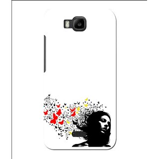 Snooky Printed Butterfly Girl Mobile Back Cover For Huawei Y560 - White