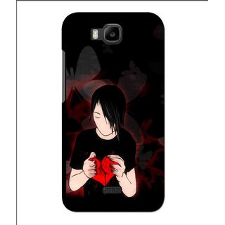 Snooky Printed Broken Heart Mobile Back Cover For Huawei Y560 - Black