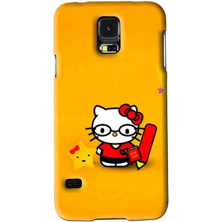 Snooky Printed Kitty Study Mobile Back Cover For Samsung Galaxy S5 - Orange