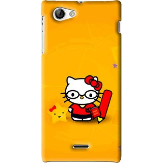 Snooky Printed Kitty Study Mobile Back Cover For Sony Xperia J - Orange
