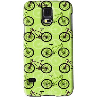 Snooky Printed Cycle Mobile Back Cover For Samsung Galaxy S5 - Green