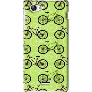 Snooky Printed Cycle Mobile Back Cover For Sony Xperia J - Green
