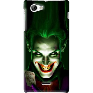 Snooky Printed Loughing Joker Mobile Back Cover For Sony Xperia J - Green