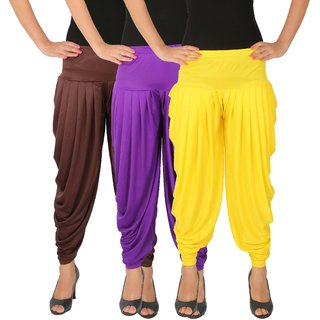 Culture the Dignity Women's Lycra Side Plated Dhoti Patiala Salwar Harem Pants Combo - C_SP_DH_B2VY - Brown - Violet - Yellow - Pack of 3
