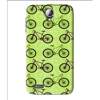 Snooky Printed Cycle Mobile Back Cover For Lenovo A850 - Green