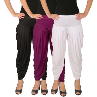 Culture the Dignity Women's Lycra Side Plated Dhoti Patiala Salwar Harem Pants Combo - C_SP_DH_BP1W - Black - Purple - White - Pack of 3