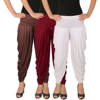 Culture the Dignity Women's Lycra Side Plated Dhoti Patiala Salwar Harem Pants Combo - C_SP_DH_B2MW - Brown - Maroon - White - Pack of 3