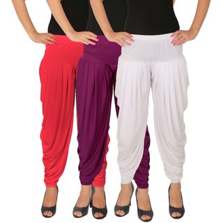 Culture the Dignity Women's Lycra Side Plated Dhoti Patiala Salwar Harem Pants Combo - C_SP_DH_PP1W - Pink - Purple - White - Pack of 3