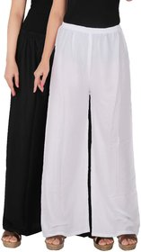 Culture the Dignity Women's Rayon Solid Palazzo Ethnic  Pants Palazzo Ethnic Trousers Combo of 2 -  Black -  White -  C_RPZ_BW -  Pack of 2 -  Free Size