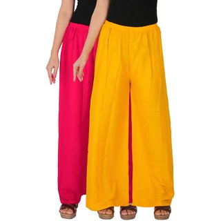 Culture the Dignity Women's Rayon Solid Palazzo Ethnic  Pants Palazzo Ethnic Trousers Combo of 2 -  Magenta -  Yellow -  C_RPZ_M1Y -  Pack of 2 -  Free Size