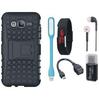 Vivo V7 Plus Defender Tough Hybrid Shockproof Cover with Memory Card Reader, Digital Watch, Earphones, USB LED Light and OTG Cable