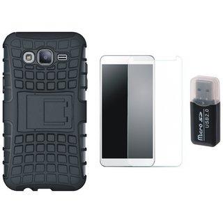 Vivo V7 Plus Defender Tough Hybrid Shockproof Cover with Memory Card Reader, Tempered Glass