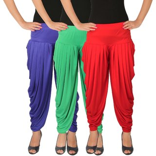 Culture the Dignity Women's Lycra Side Plated Dhoti Patiala Salwar Harem Pants Combo - C_SP_DH_B1GR - Blue - Green - Red - Pack of 3