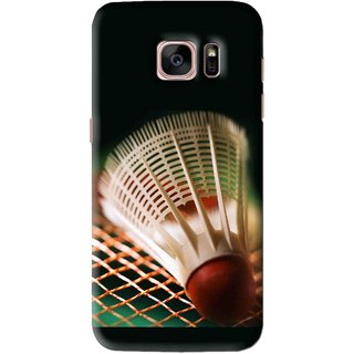 Snooky Printed Badminton Mobile Back Cover For Samsung Galaxy S7 Edge - Black