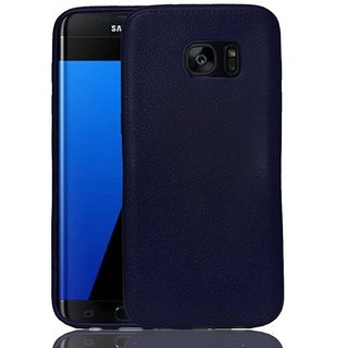 ECS Leather Texture Flexible ShockProof Soft Back Case Cover for Samsung Galaxy S7 edge G935F - Blue