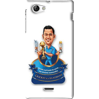Snooky Printed Cricket Ka Badshah Mobile Back Cover For Sony Xperia J - White