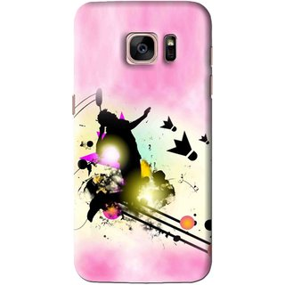 Snooky Printed Flying Man Mobile Back Cover For Samsung Galaxy S7 Edge - Pink