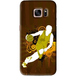 Snooky Printed Chamoins wins Mobile Back Cover For Samsung Galaxy S7 Edge - Brown