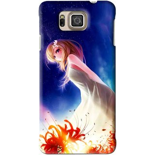Snooky Printed Angel Girl Mobile Back Cover For Samsung Galaxy Alpha - Blue