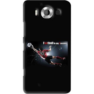 Snooky Printed Football Passion Mobile Back Cover For Microsoft Lumia 950 - Black